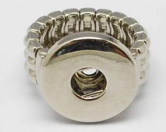 Platinum Silver Adjustable Ring with Snap Component