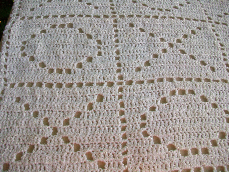 Crochet Baby Blanket White Hugs And Kisses Patternchristening Etsy