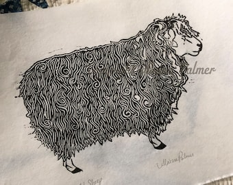 Hand Printed Cotswold Sheep Curly Relief Linoleum Block Print Rice Paper Original Alaina Palmer Edition Handmade Art Wool Worker Farm Sheep