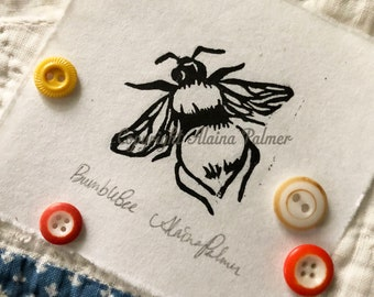 Hand Printed Bumble Bee Beehive Relief Linoleum Block Print Rice Paper Original Alaina Palmer Honeybee Edition Handmade Art Small Bees