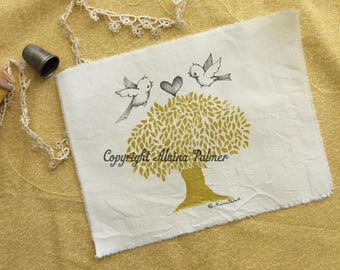 Handprinted Hand Carved Two Lovebirds Birds with Heart Pen and Ink Illustration on Cotton Fabric Label Patch Michelle L. Palmer
