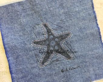 Handprinted Hand Carved Nautical Beach Starfish on Denim Fabric Label Patch with Embroidery Stitched Details Coral Turquoise