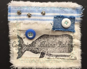 Handmade Brooch Purse Patch Pin with Whale Linoleum Print Vintage China Button Fabric Metal Bead Collage Blue and White Nautical Beach Ocean