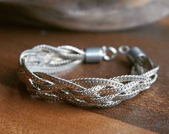 Silver braided chain bracelet