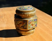 Vintage Chinese Brass Jar with Stunning Symbols Flowers and Butterflies Stamped and Enhanced with Enamel Home Decor Art Storage 1960s