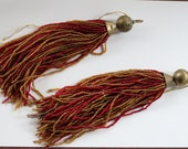 Set of Two Vintage GLASS BEAD TASSELS Sparkle and Shimmer Repurpose Home and Garden decor 1940s 50s Necklace Belt Hanger