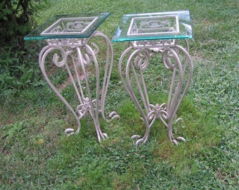 a pair of ornate vintage wrought iron patio tables with green tinted glass tops pickup only connecticut - Vintage Wrought Iron Patio Furniture