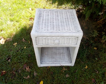 Vintage 1950s White WICKER End Table With Drawer Indoor Or Out Family Room  Porch Patio Pick