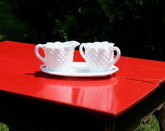 Hobnailed Milk glass SUGAR and CREAMER with TRAY Probably Fenton Star Pattern from 1960s Vintage Home Decor Country Kitchen