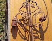 Vintage Wrought Metal FROG STAND with BELLS Garden Art Plant Holder