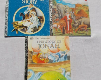 Five Little Golden Books Christmas Story Jonah Daniel  in the Lions Den David and Goliath and Noahs Ark