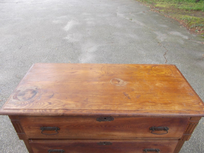 Early 1900s Wood Chest of Drawers Bureau Dresser From an Old New England Farm House Rustic Primitive Home Decor PICK UP ONLY Connecticut