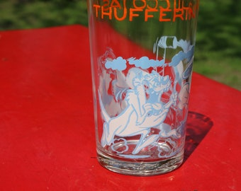 1960s 70s  SYLVESTER THUFFERIN THUCCOTASH  Cartoon Jelly Glass with imprint on bottom  serving dining barware