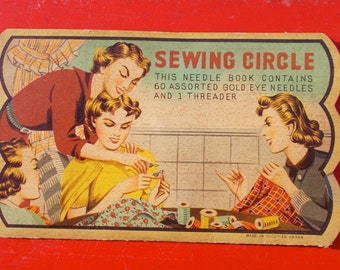Vintage SEWING CIRCLE Needle Book Nickel Plated Gold Eye Needles Made in Occupied Japan Rust Proof Perfect Needles