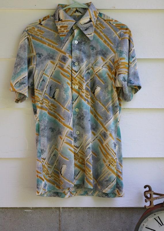 Medium  70s DISCO Abstract Short Sleeve Shirt ENRO