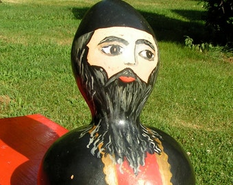 Folk Art Russian or Eastern European Painted Gourd Man in Black with Gold Cross SIGNED Cool Folk Art