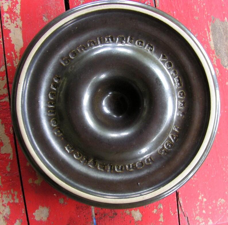 70s Bennington Pottery Ashtray Vermont Dark Brown Large