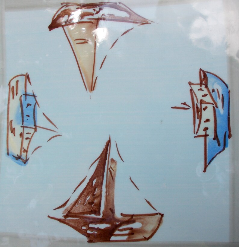 Vintage Antica FornacE  Ceramic Tile Art   Marked Ceramiche Da Tavola  made in Italy     Hand Painted  Boats
