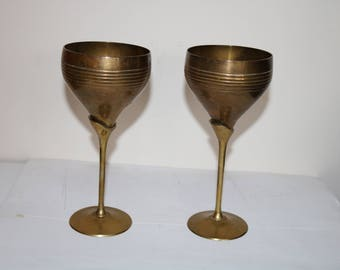 Set of Two Vintage BRASS and COPPER GOBLETS Cups Wineglass