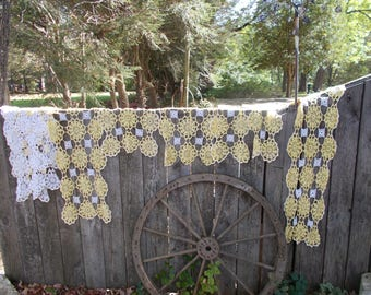 40s Set of TEN White and Yellow DOLLIES COTTON Hand Crocheted