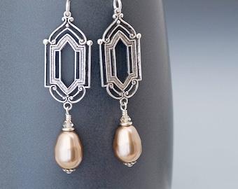 Taupe Art Deco Earrings, Taupe Earrings, Swarovski Crystal Pearl Earrings, Silver Dangle Earrings, Taupe Drop Earring, Hypoallergenic, Gytha