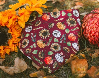 Autumn - Fall Dog Bandana- Watershield Eco Canvas, Water, Stain, Hair, Wrinkle Resistant 3 Snap Custom Neck Size