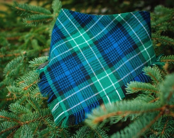Fern - Plaid Dog Bandana -  Fray or Clean Edge -  Adjustable 3 Snap Custom Neck Size -Double Stitched- Flannel