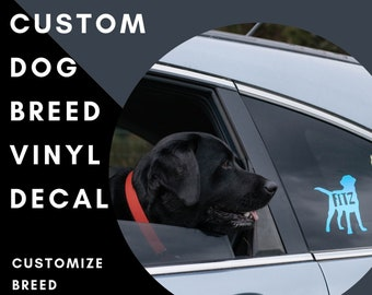 Custom Dog Breed Vinyl Decal with Custom Name/Text- Holographic, Pattern, and Matte Vinyl