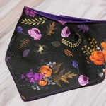 Sabrina Hallow Dog Bandana- Linen Canvas with Canvas Backing- Adjustable 3 Snap Custom Neck Size Bandana- Double Sided-Double Stitched
