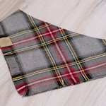Cozy Plaid Dog Bandana- Fray or Clean Edge - Adjustable 3 Snap Custom Neck Size- Double Sided-Double Stitched- Flannel