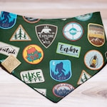 Adventure Badges Green Watershield Bandana- Eco Canvas, Water, Stain, Hair, Wrinkle Resistant, Durable 3 Snap- NO MONOGRAMS