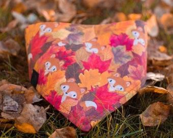 Autumn Fox - Fall Dog Bandana- Adjustable 3 Snap Custom Neck Size - Triple Layered - Double Stitched - Cotton