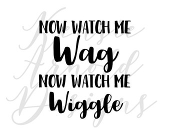 Now Watch Me Wag Now Watch Me Wiggle- Monogram Addition for Dog Bandana - Matte, Glitter & HOLO Options