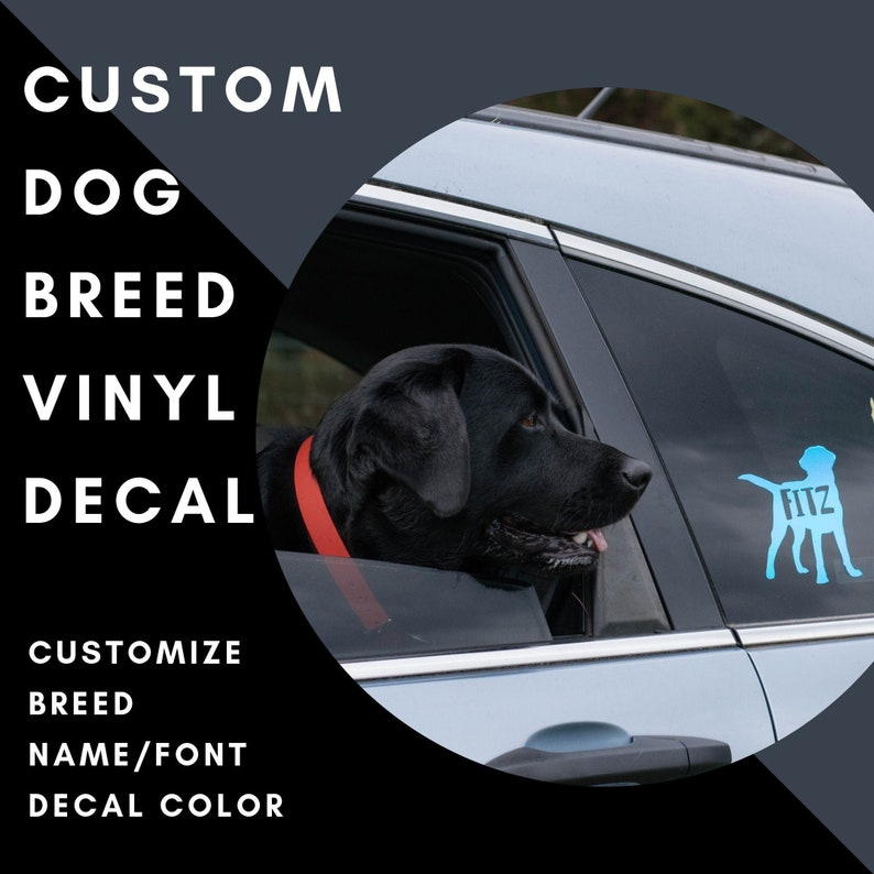 Custom Dog Breed Vinyl Decal with Custom Name/Text image 0