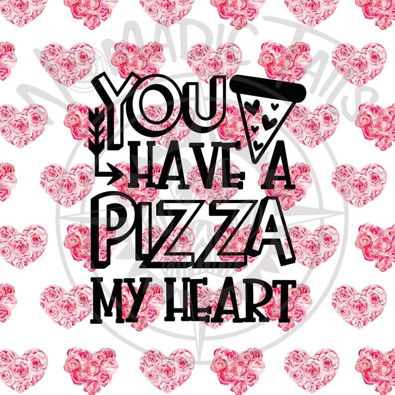 Pizza My Heart  Valentine Monogram Addition for Dog Bandanas image 0
