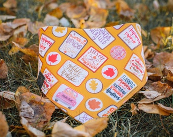 Fall Badges - Fall Dog Bandana- Watershield Eco Canvas, Water, Stain, Hair, Wrinkle Resistant 3 Snap Custom Neck Size