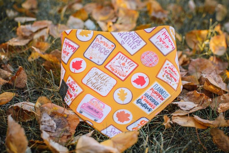 Fall Badges  Fall Dog Bandana Watershield Eco Canvas Water image 0