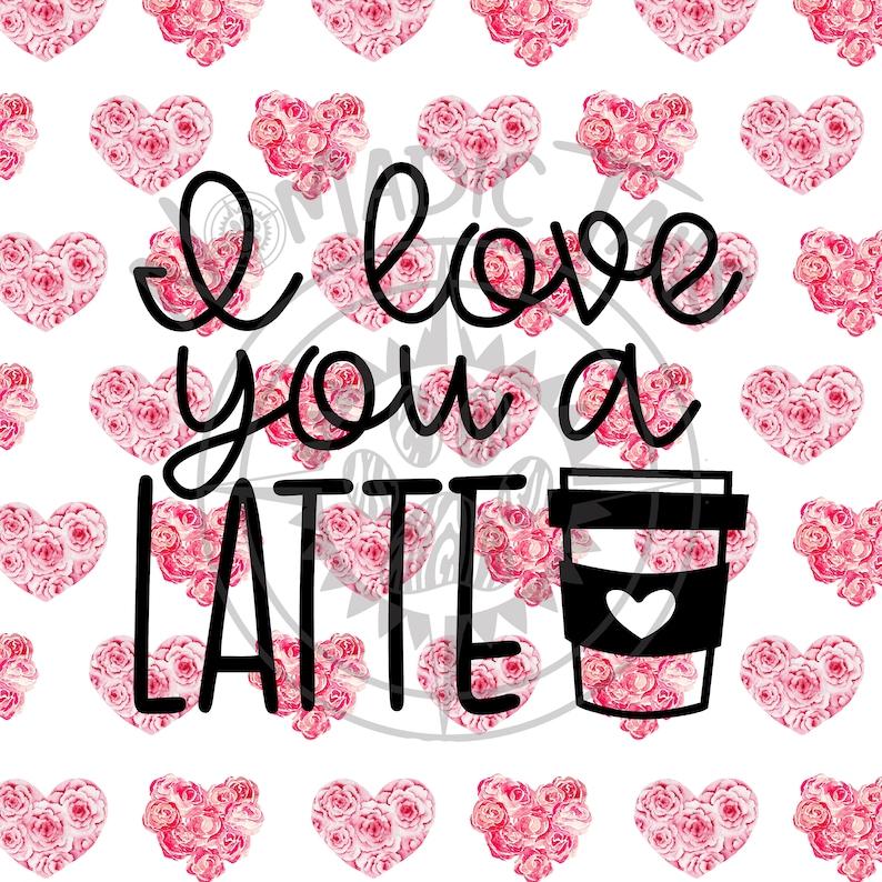 Love You A Latte Valentine Monogram Addition for Dog Bandanas image 0