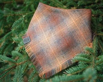 Hazelnut- Plaid Dog Bandana -  Fray or Clean Edge -  Adjustable 3 Snap Custom Neck Size -Double Stitched- Flannel