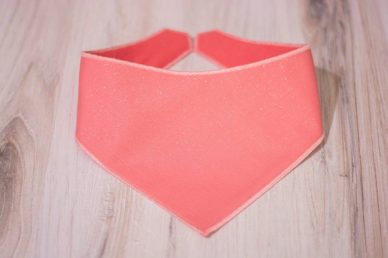 Grapefruit  Coral Glitter Dog Bandana  Adjustable 3 Snap image 0
