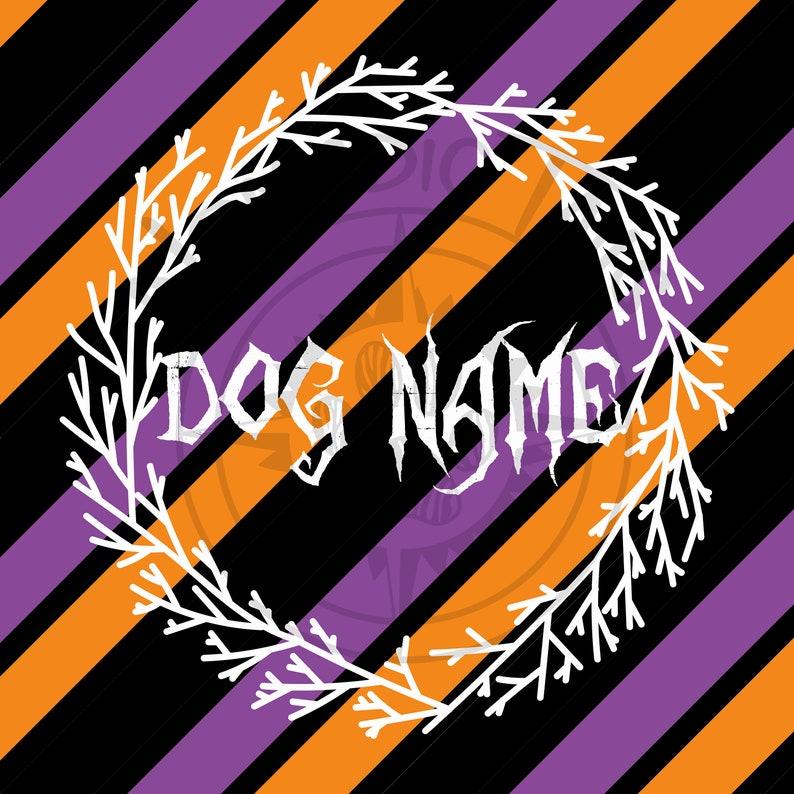 Custom Dog Name Halloween Wreath Monogram Addition for Dog image 0