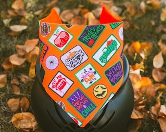 Halloween Classic Badges- Halloween Dog Bandana- Watershield Canvas, Water, Stain, Hair, Wrinkle Resistant- Adjustable 3 Snaps