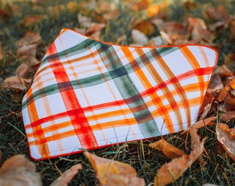 Autumn Picnic - Fall Dog Bandana- Watershield Eco Canvas, Water, Stain, Hair, Wrinkle Resistant 3 Snap Custom Neck Size