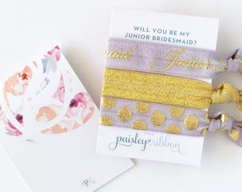 Purple and gold Will you be my Junior Bridesmaid hair tie set with display card, jr bridesmaid gift, jr bridesmaid favor, jr bridesmaid bag