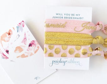 Pink and gold Will you be my Junior Bridesmaid hair tie set with display card, jr bridesmaid gift, jr bridesmaid favor, jr bridesmaid bag