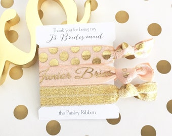 Peach and gold Thank you for being my Junior Bridesmaid hair tie set with display card, bridesmaid gift, bridesmaid box, bridesmaid favor