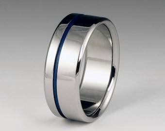 Titanium Wedding Band, Blue Titanium Ring, Titanium Ring, Wedding Ring, Mens Titanium Bands, Womens Titanium Rings, Promise Ring, Blue Ring