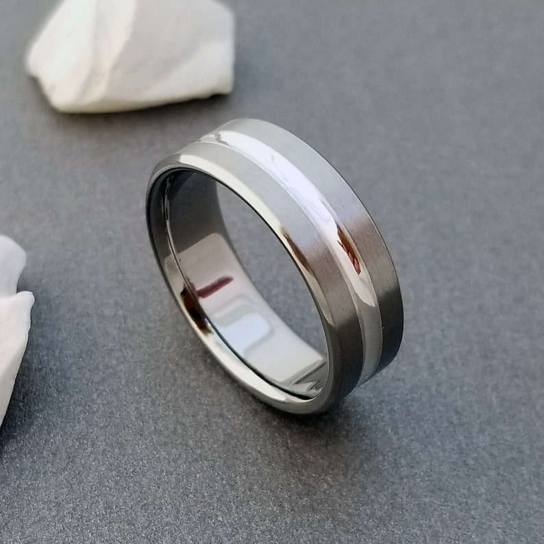 Titanium Ring with a Concave Sterling Silver Inlay Mens or image 0