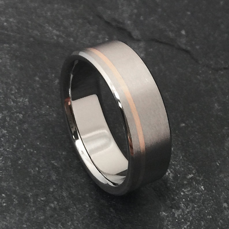 1e3ea914f46 Rose Gold and Titanium Ring in a Flat Profile Yellow Rose or