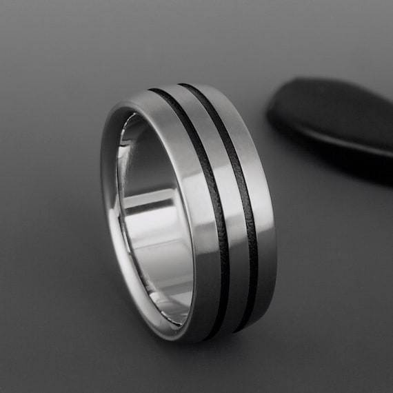 Titanium Wedding Ring with Black Stripes and Beveled Edges Simple Personalized Engagement Promise Anniversary Band or Unique Engraved Gift
